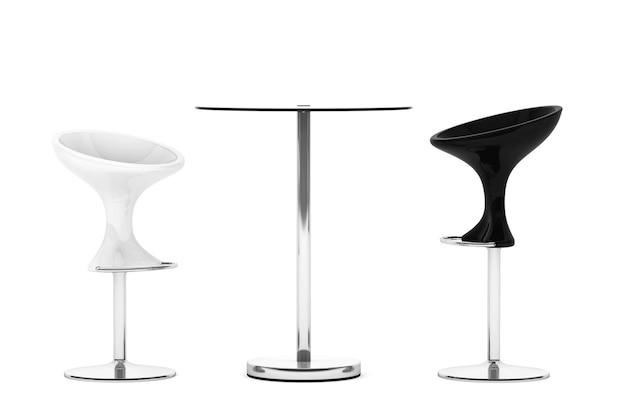 Tamboretes de barra modernos com mesa em um fundo branco. renderização 3d