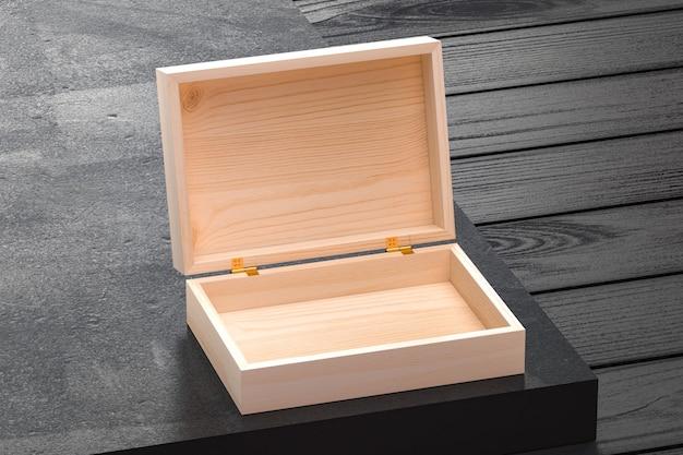 Tampa da caixa de madeira aberta e fechada para marca e identidade