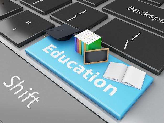 Tampão da graduação 3d, livros e quadro-negro no teclado de computador.