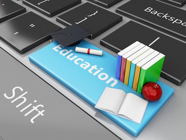 Tampão da graduação 3d, livros no teclado de computador.