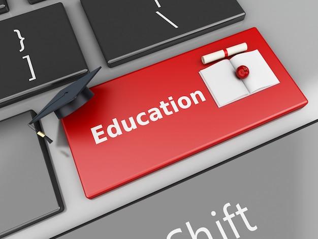 Tampão e diploma da graduação 3d no teclado de computador.