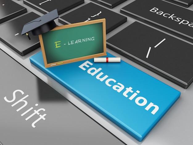 Tampão e quadro-negro da graduação 3d no teclado de computador.