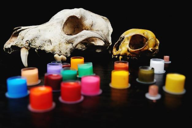 Tampas para tinta de tatuagem com colorido sobre o fundo de um crânio.
