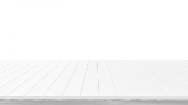 Tampo da mesa de madeira branco vazio, isolado no fundo branco