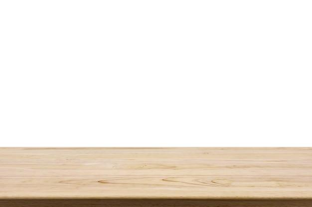 Tampo da mesa de madeira isolado no fundo branco