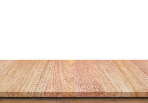 Tampo da mesa de madeira isolado no fundo branco.