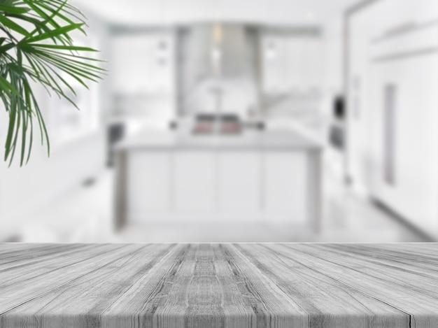 Tampo da mesa de madeira vazio com cozinha turva