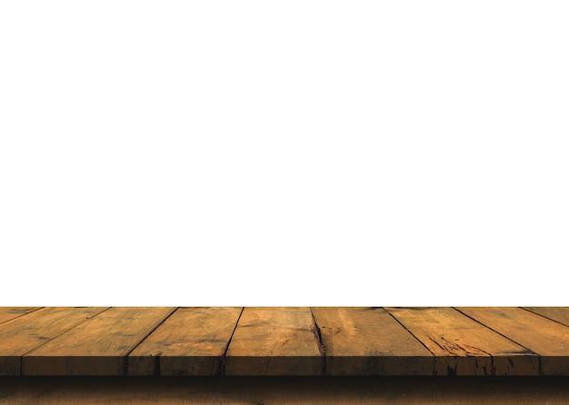 Tampo da mesa de madeira vazio de brown isolado no fundo branco.