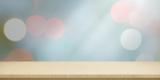 Tampo da mesa de madeira vazio e desfoque a parede de iluminação do bokeh para o fundo abstrato do mock-up do banner. renderização de ilustração 3d.