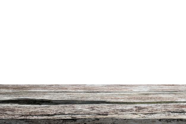 Tampo da mesa de madeira vazio isolado no fundo branco para montagem da exposição do produto
