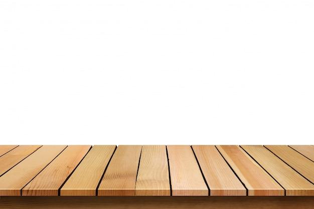 Tampo da mesa de madeira vazio isolado no fundo branco.