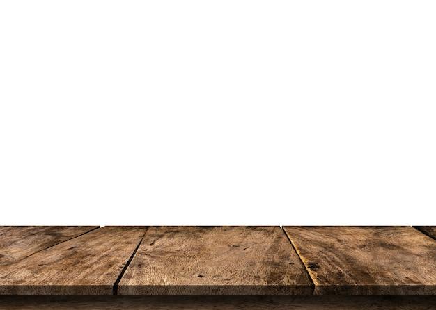 Tampo da mesa de madeira vazio marrom isolado no branco