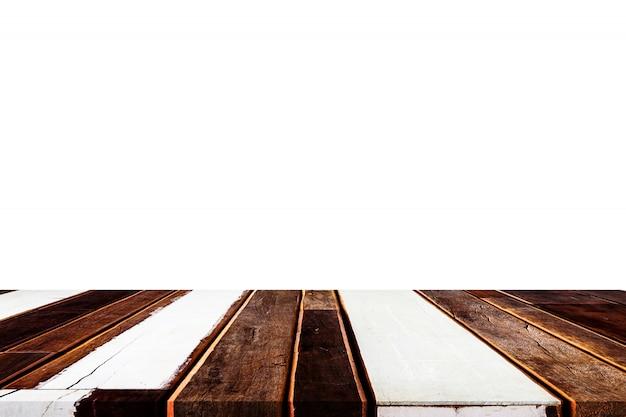 Tampo da mesa de madeira vazio no branco isolado, zombaria do molde acima para a exposição do produto.