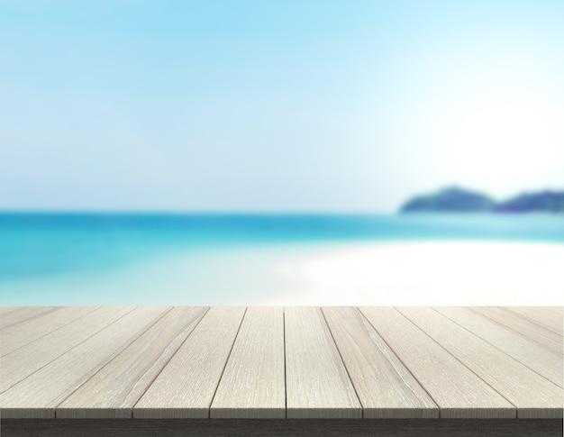 Tampo da mesa na praia e desfoque a natureza para o fundo