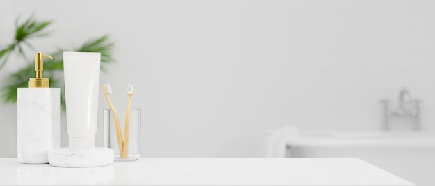 Tampo de mesa branco para produto de montagem de display com escova de dentes, frasco de xampu, tubo de loção corporal sobre o interior do banheiro branco brilhante no fundo, renderização em 3d, ilustração em 3d