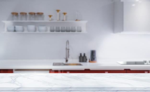 Tampo de mesa com textura de mármore branco no fundo desfocado da cozinha para montagem ou exposição de seus produtos