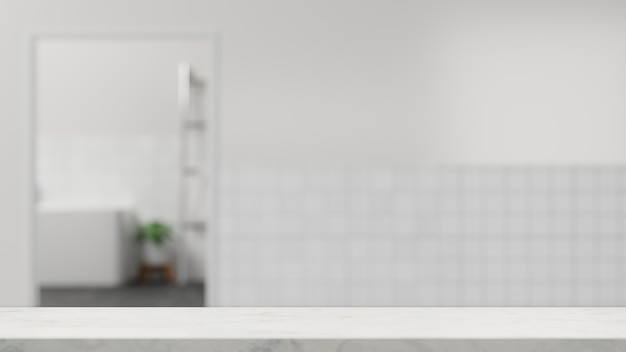 Tampo de mesa de banheiro branco vazio para montagem sobre interior de banheiro branco desfocado com paredes de ladrilho 3d
