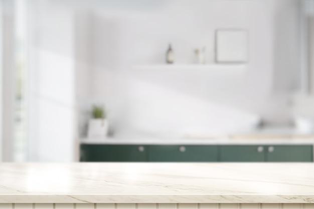 Tampo de mesa de mármore na sala de cozinha
