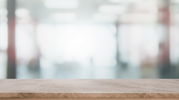 Tampo de mesa de mármore pedra vazia e abstrato borrado do edifício de escritório interior