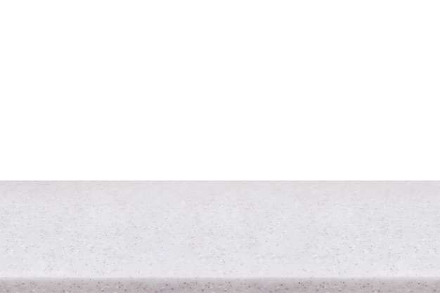 Tampo de mesa de pedra de mármore vazio isolado no fundo branco, para criar exposição de produtos de montagem