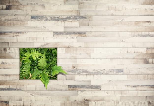 Tampo em tábua de madeira ou terraço com samambaia em tons vintage, para exposição de produtos.