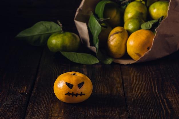 Tangerinas assustadoras para o halloween