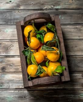 Tangerinas frescas na caixa. em fundo de madeira