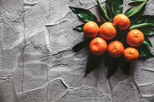 Tangerinas (laranjas, tangerinas, clementinas, frutas cítricas) com folhas em fundo de cimento cinza