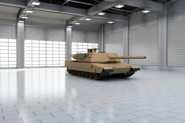 Tanque militar pesado em hangar moderno com janelas grandes