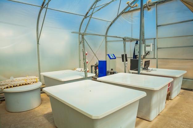 Tanques para mistura de pesticidas em estufa