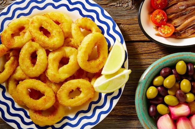 Tapas marisco espanhol lula frita