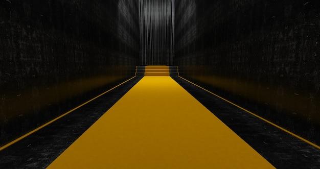 Tapete amarelo nas escadas, o caminho para a glória, escadas sobem. sucesso nos negócios. tapete de veludo vermelho. renderização 3d