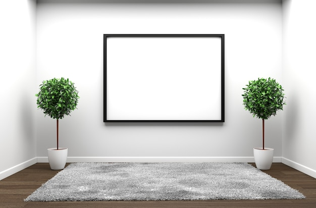 Tapete branco no assoalho de madeira branco em uma sala vazia branca. renderização 3d