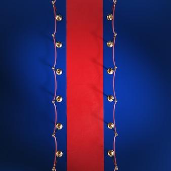 Tapete cerimonial vermelho, barreira dourada, vista superior, 3d