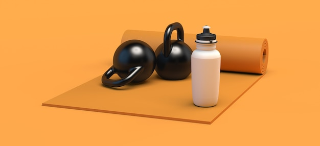 Tapete com pesos de mão e garrafa de água. conceito de esporte. ilustração 3d. copie o espaço. ginástica.
