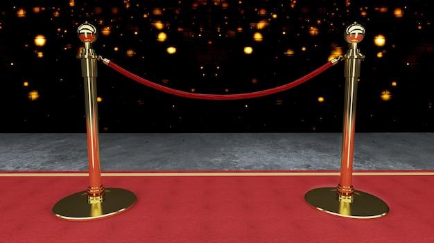 Tapete de evento vermelho, escada e barreira de corda de ouro conceito de sucesso e triunfo
