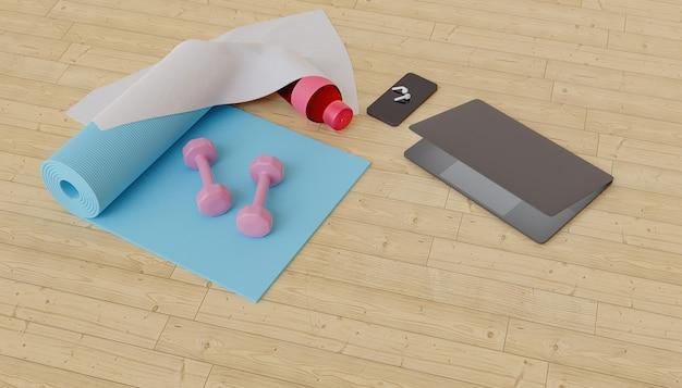 Tapete de exercícios com pesos, telefone celular, computador e fones de ouvido ao redor