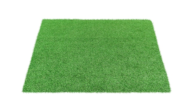Tapete de grama artificial isolado no branco