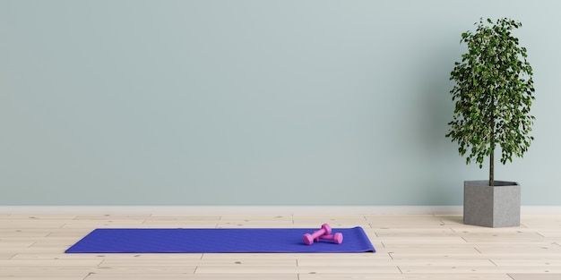 Tapete de ioga no piso de madeira natural em uma sala vazia no centro de fitness. ilustração 3d