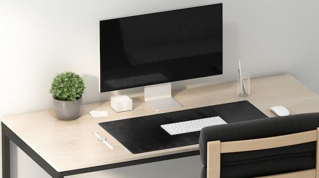 Tapete de mesa preto em branco com mouse e teclado brancos, renderização em 3d.
