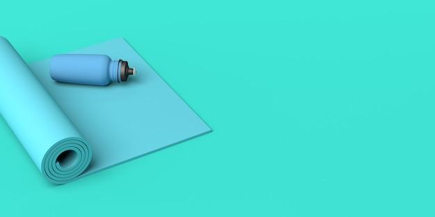 Tapete e garrafa de água. conceito de esporte. ilustração 3d. copie o espaço. ginástica.