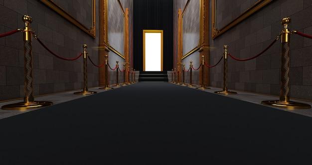 Tapete preto na escada em um fundo escuro com porta iluminada no final, o caminho para a glória, renderização 3d