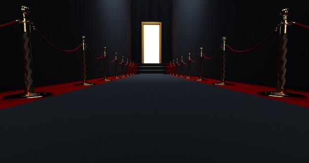 Tapete preto na escada sobre fundo escuro com porta iluminada no final, o caminho para a glória