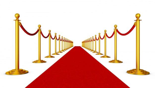 Tapete vermelho e pilares com cordas vermelhas sobre um fundo branco