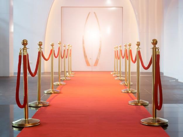 Tapete vermelho entre barreiras de corda na festa de sucesso