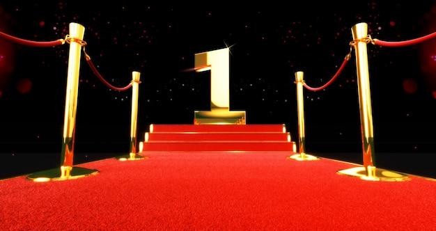 Tapete vermelho longo entre as barreiras de corda com o número um na escada no final. o primeiro.