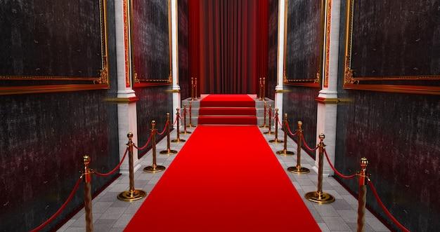 Tapete vermelho longo entre as barreiras de corda na entrada.