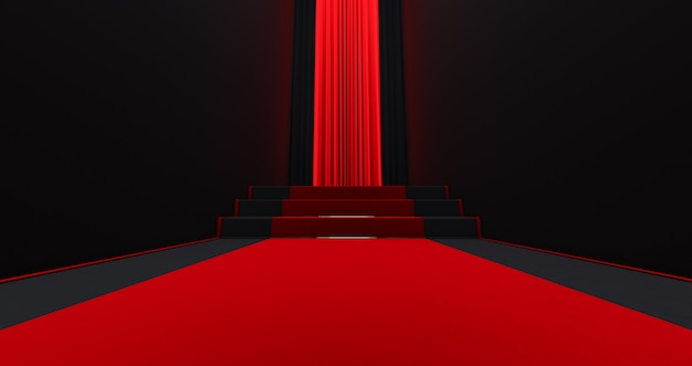 Tapete vermelho nas escadas em um fundo escuro, o caminho para a glória, renderização 3d