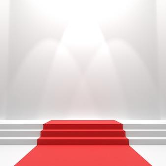 Tapete vermelho nas escadas.