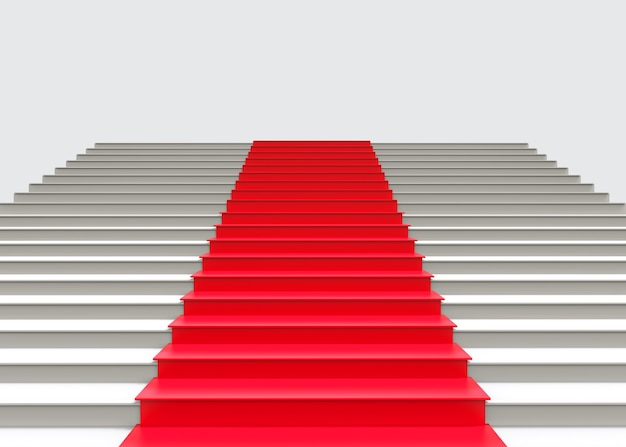 Tapete vermelho no fundo cinzento da escada.